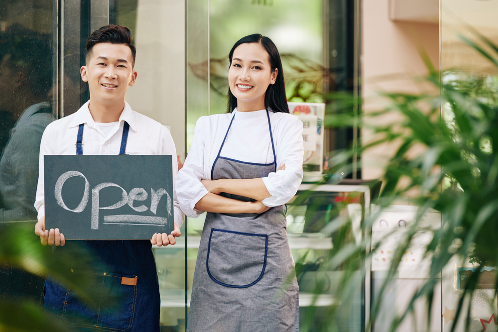 Portrait,Of,Happy,Confident,Young,Waitress,And,Waiter,Showing,Open